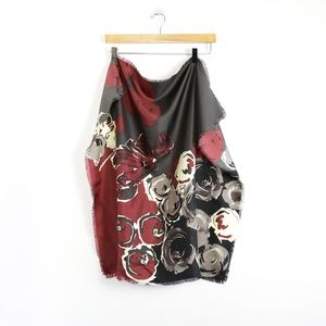 Talbots floral print square scarf silk maroon soft